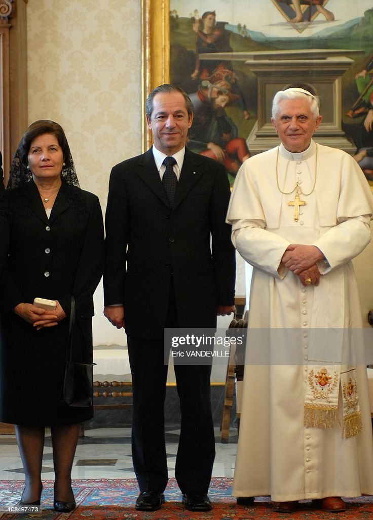 Pope Benedict XVI received at the Vatican Malta prime minister <a gi-track='captionPersonalityLinkClicked' href=/galleries/search?phrase=Lawrence+Gonzi&family=editorial&specificpeople=568017 ng-click='$event.stopPropagation()'>Lawrence Gonzi</a>, Prime Minister of Malta, and his wife Kate in Rome, Vatican City on January 18, 2007.