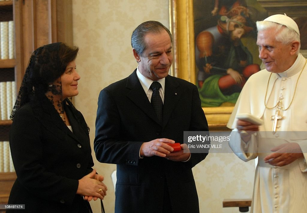 Pope Benedict XVI received at the Vatican Malta prime minister Lawrence Gonzi Prime Minister of Malta and his wife Kate in Rome Vatican City on...