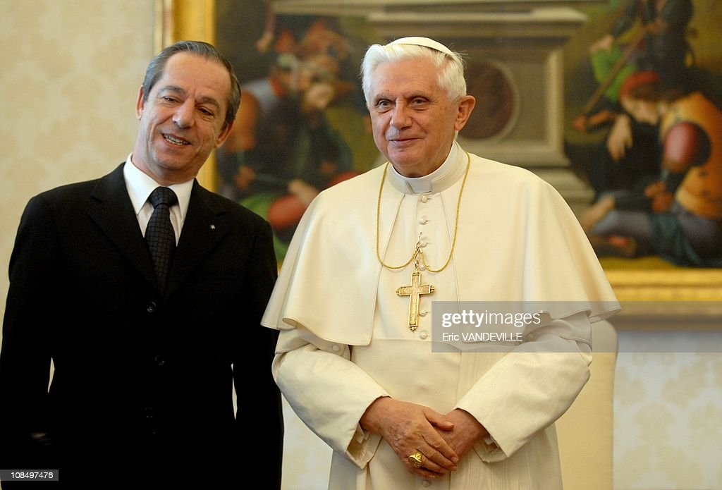 <a gi-track='captionPersonalityLinkClicked' href=/galleries/search?phrase=Pope+Benedict+XVI&family=editorial&specificpeople=201771 ng-click='$event.stopPropagation()'>Pope Benedict XVI</a> received at the Vatican Malta prime minister <a gi-track='captionPersonalityLinkClicked' href=/galleries/search?phrase=Lawrence+Gonzi&family=editorial&specificpeople=568017 ng-click='$event.stopPropagation()'>Lawrence Gonzi</a>, Prime Minister of Malta, and his wife Kate in Rome, Vatican City on January 18, 2007.