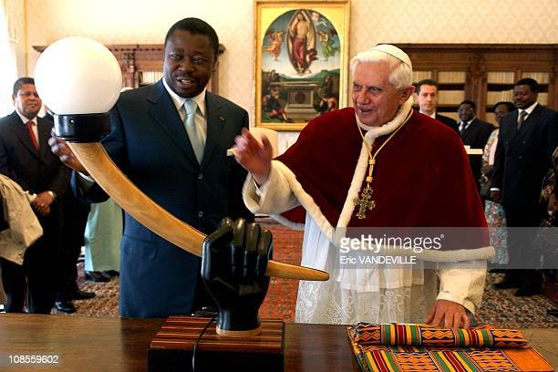 Pope Benedict XVI received Togolese President Faure Gnassingbe during an audience in his private library at the Vatican The african president offered...