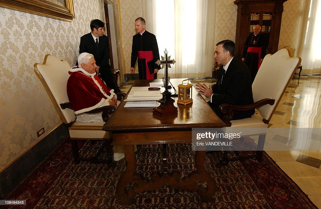 Pope Benedict XVI receives the President of the Republic of Montenegro <a gi-track='captionPersonalityLinkClicked' href=/galleries/search?phrase=Filip+Vujanovic&family=editorial&specificpeople=596296 ng-click='$event.stopPropagation()'>Filip Vujanovic</a> at the Vatican, Italy on January 16, 2006.