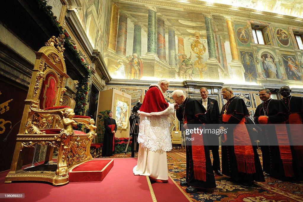Pope Benedict XVI receives the Roman Curia for the annual Christmas ...