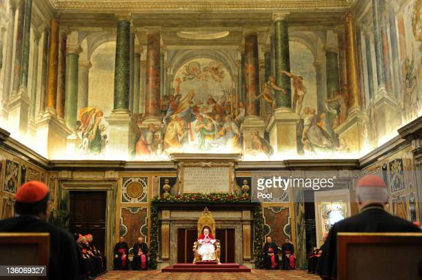 Pope Benedict XVI receives the Roman Curia for the annual Christmas greetings at the Clementina Hall on December 22 2011 in Vatican City Vatican...