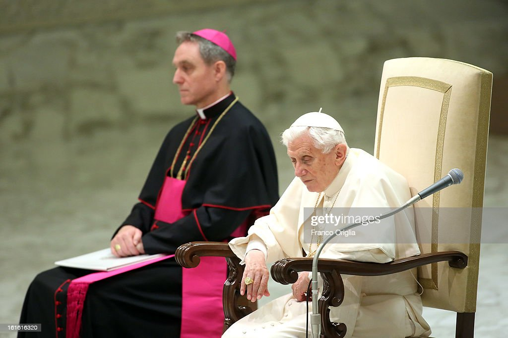 <a gi-track='captionPersonalityLinkClicked' href=/galleries/search?phrase=Pope+Benedict+XVI&family=editorial&specificpeople=201771 ng-click='$event.stopPropagation()'>Pope Benedict XVI</a> sits beside his personal secretary Georg Ganswein during his weekly audience on February 13, 2013 in Vatican City, Vatican. The Pontiff will hold his last weekly public audience on February 27 at St Peter's Square after announcing his resignation earlier this week.