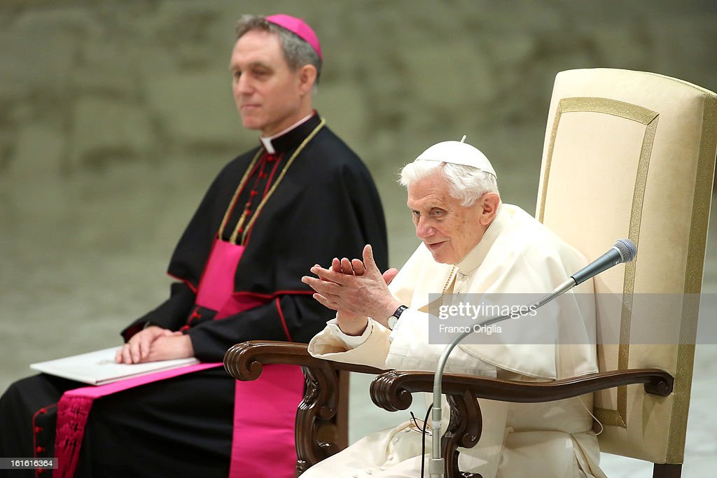 <a gi-track='captionPersonalityLinkClicked' href=/galleries/search?phrase=Pope+Benedict+XVI&family=editorial&specificpeople=201771 ng-click='$event.stopPropagation()'>Pope Benedict XVI</a> sits beside his personal secretary Georg Ganswein (L) as he applauds the faithful durimg his weekly audience on February 13, 2013 in Vatican City, Vatican. The Pontiff will hold his last weekly public audience on February 27 at St Peter's Square after announcing his resignation earlier this week.