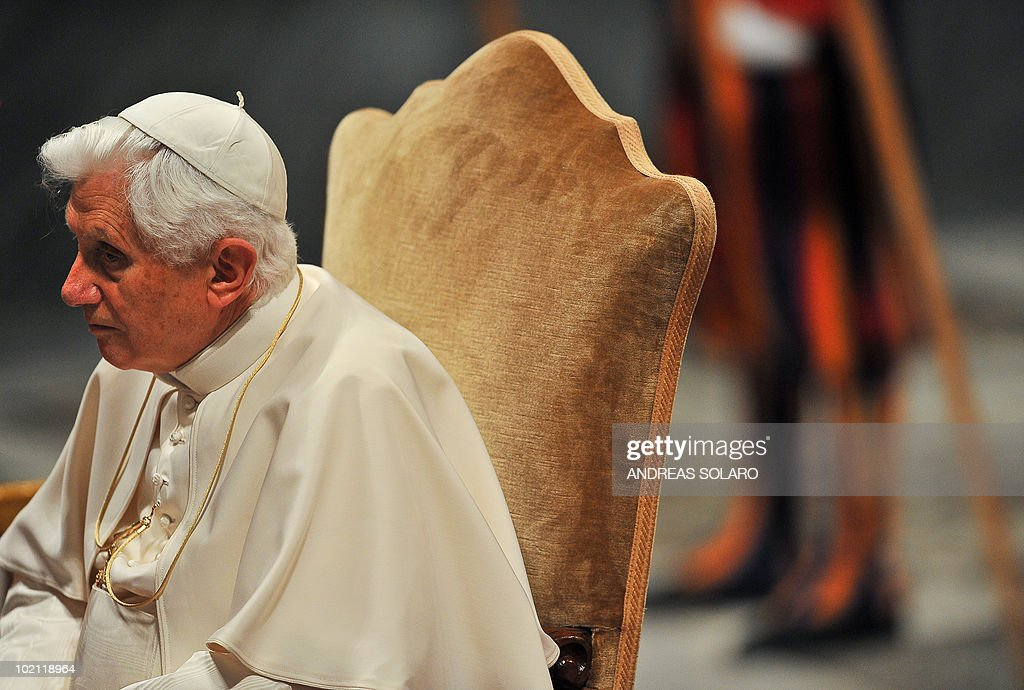 Pope Benedict XVI sits in Basilica San Giovanni in Laterano during the opening of the Roman diocesan convention on June 15, 2010 in Rome.