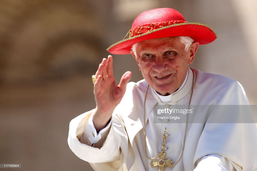 <a gi-track='captionPersonalityLinkClicked' href=/galleries/search?phrase=Pope+Benedict+XVI&family=editorial&specificpeople=201771 ng-click='$event.stopPropagation()'>Pope Benedict XVI</a> smiles to the faithful gathered in St. Peter's Square, at the end of his weekly audience on June 22, 2011 in Vatican City, Vatican. The Vatican announced yesterday that at the end of the year <a gi-track='captionPersonalityLinkClicked' href=/galleries/search?phrase=Pope+Benedict+XVI&family=editorial&specificpeople=201771 ng-click='$event.stopPropagation()'>Pope Benedict XVI</a> will receive a new hybrid Popemobile, further increasing his green credentials.