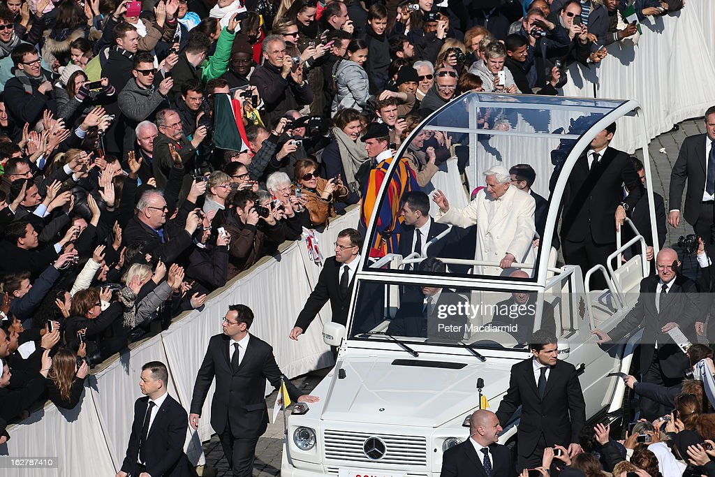Pope Benedict XVI travels in the popemobile as he arrives in St Peter's Square ahead of final general audience before his retirement on February 27, 2013 in Vatican City, Vatican. The Pontiff will hold his last weekly public audience later before he abdicates tomorrow. Pope Benedict XVI has been the leader of the Catholic Church for eight years and is the first Pope to retire since 1415. He cites ailing health as his reason for retirement and will spend the rest of his life in solitude away from public engagements.