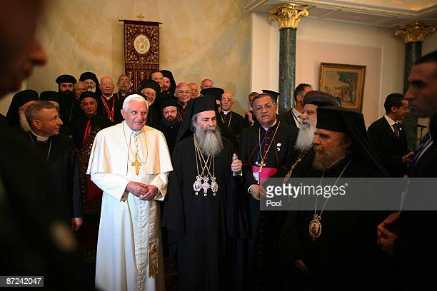 Pope Benedict XVI visits Patriarch Theophilos III at the Greek Orthodox Patriarchate of Jerusalem on May 15 2009 in the Old City of Jerusalem Israel...