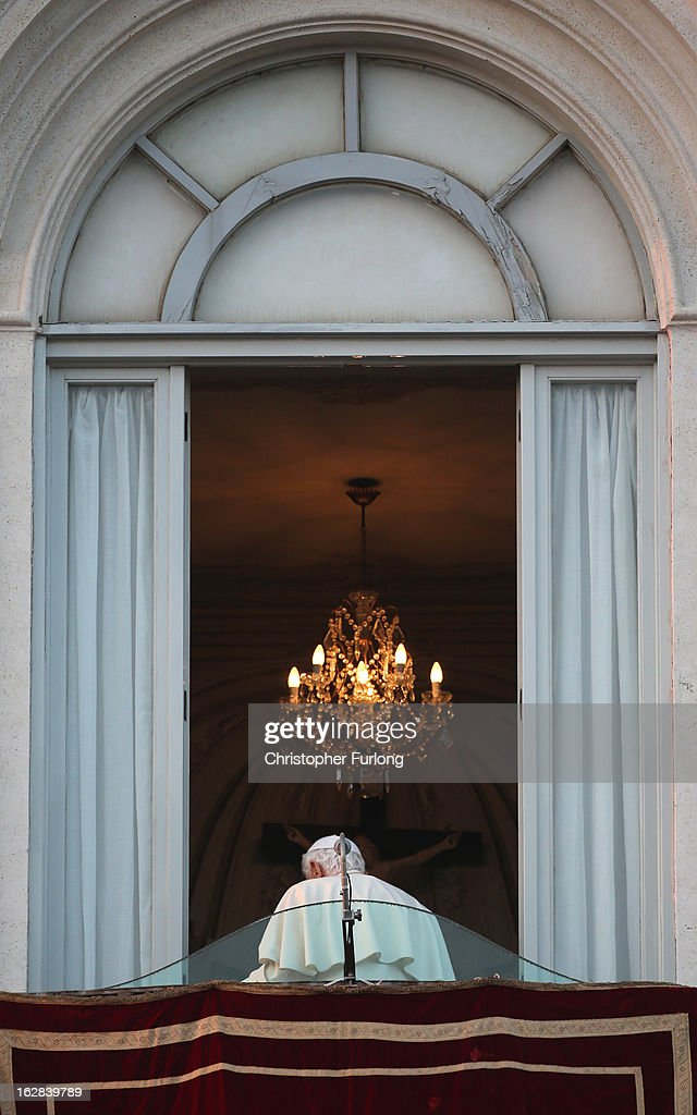 Pope Benedict XVI walks away for the last time as head of the Catholic Church, from the window of Castel Gandolfo where he will start his retirement today on February 28, 2013 in Rome, Italy. Pope Benedict XVI has been the leader of the Catholic Church for eight years and is the first Pope to retire since 1415. He will stay at the Papal Summer residence of Castel Gandolfo until renovations are complete at a monastery in the grounds of the Vatican and will be known as Roman Pope Emeritus.