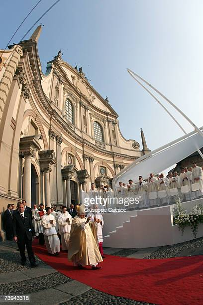 Pope Benedict XVI walks in front of a Cathedral to preside over an openair mass in Piazza Ducale on April 21 2007 in Vigevano Italy The Pontiff is...