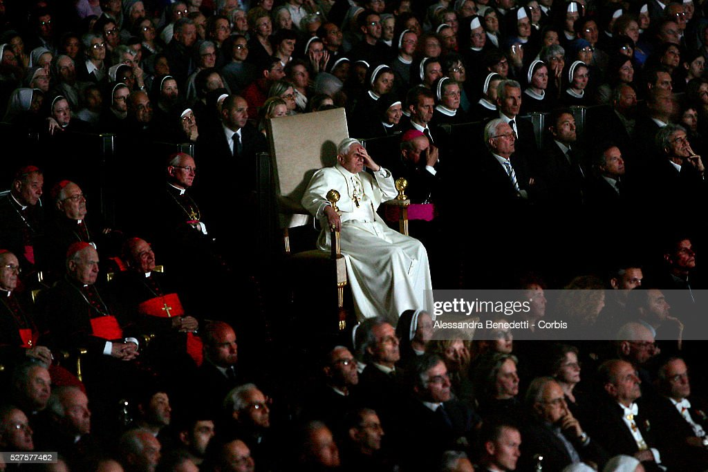 Pope Benedict XVI watches the movie 'Karol un uomo divenuto papa' in memory of the late Pope John Paul II in the Paul VI Hall at the Vatican
