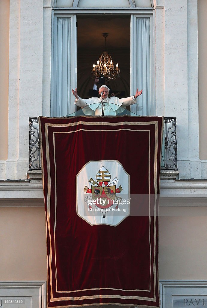 <a gi-track='captionPersonalityLinkClicked' href=/galleries/search?phrase=Pope+Benedict+XVI&family=editorial&specificpeople=201771 ng-click='$event.stopPropagation()'>Pope Benedict XVI</a> waves to pilgrims, for the last time as head of the Catholic Church, from the window of Castel Gandolfo where he will start his retirement today on February 28, 2013 in Rome, Italy. <a gi-track='captionPersonalityLinkClicked' href=/galleries/search?phrase=Pope+Benedict+XVI&family=editorial&specificpeople=201771 ng-click='$event.stopPropagation()'>Pope Benedict XVI</a> has been the leader of the Catholic Church for eight years and is the first Pope to retire since 1415. He will stay at the Papal Summer residence of Castel Gandolfo until renovations are complete at a monastery in the grounds of the Vatican and will be known as Roman Pope Emeritus.
