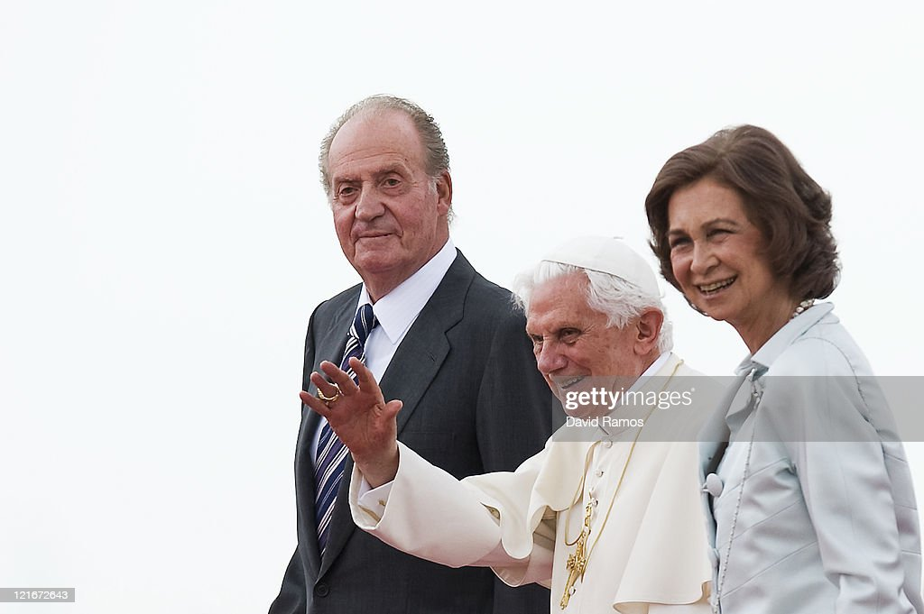 Pope Benedict XVI waves to the crowd surrounded by Queen Sofia and King Juan Carlos at the end of his visit to Spain for leading The World Youth Day 2011, at Barajas airport on August 21, 2011 in Madrid, Spain. Initiated by Pope John Paul II in 1985, World Youth Day youth-oriented events for the celebration of the Catholic faith are held every three years in a different country; this time in Madrid from August 16th to 21st, 2011.
