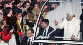 Pope Benedict XVI waves to the faithful as he arrives in St Peter's Square in the Popemobile on February 27 2013 in Vatican City Vatican The Pontiff...