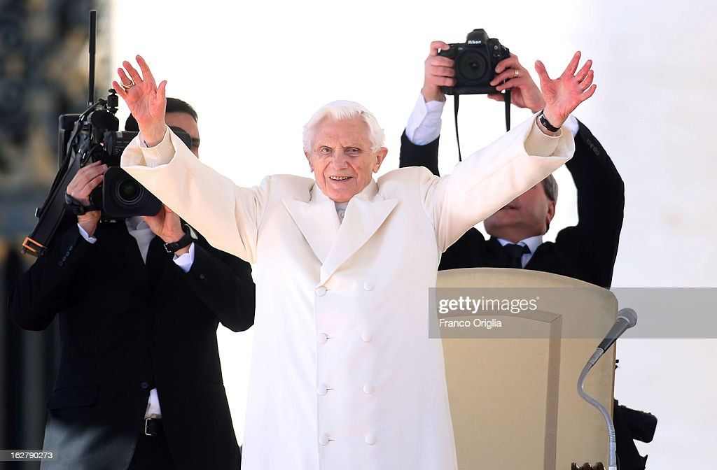 <a gi-track='captionPersonalityLinkClicked' href=/galleries/search?phrase=Pope+Benedict+XVI&family=editorial&specificpeople=201771 ng-click='$event.stopPropagation()'>Pope Benedict XVI</a> waves to the faithful as he arrives in St Peter's Square for his final general audience on February 27, 2013 in Vatican City, Vatican. The Pontiff attended his last weekly public audience before stepping down tomorrow. <a gi-track='captionPersonalityLinkClicked' href=/galleries/search?phrase=Pope+Benedict+XVI&family=editorial&specificpeople=201771 ng-click='$event.stopPropagation()'>Pope Benedict XVI</a> has been the leader of the Catholic Church for eight years and is the first Pope to retire since 1415. He cites ailing health as his reason for retirement and will spend the rest of his life in solitude away from public engagements.