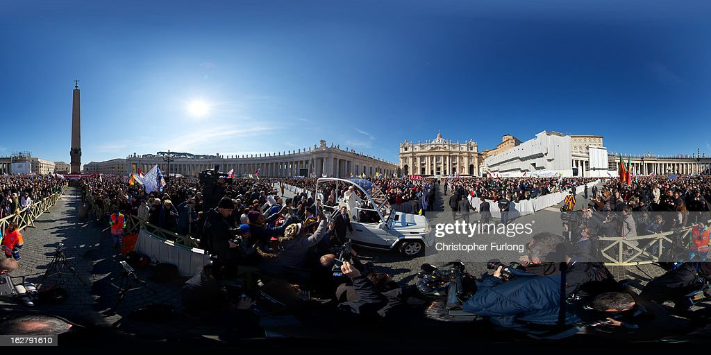 Pope Benedict XVI waves to the faithful as he arrives in St. Peter's Square for his final general audience on February 27, 2013 in Vatican City, Vatican. The Pontiff attended his last weekly public audience before stepping down tomorrow. Pope Benedict XVI has been the leader of the Catholic Church for eight years and is the first Pope to retire since 1415. He cites ailing health as his reason for retirement and will spend the rest of his life in solitude away from public engagements.