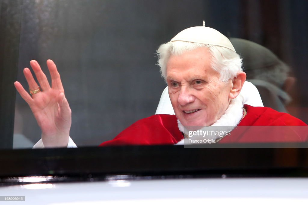 <a gi-track='captionPersonalityLinkClicked' href=/galleries/search?phrase=Pope+Benedict+XVI&family=editorial&specificpeople=201771 ng-click='$event.stopPropagation()'>Pope Benedict XVI</a> waves to the faithful as he lives in his new Popemobile the Spanish Steps at the end of the Immaculate Conception celebration on December 8, 2012 in Rome, Italy. This papal tradition marks the beginning of the Christmas season as the Pope visits the monument and crowns the statue of Mary with a garland of flowers.