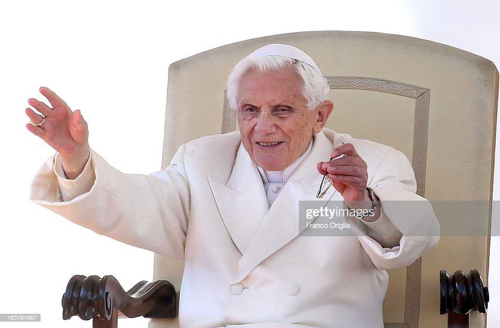 Pope Benedict XVI waves to the faithful gathered in St. Peter's Squareduring his final general audience on February 27, 2013 in Vatican City, Vatican. The Pontiff attended his last weekly public audience before stepping down tomorrow. Pope Benedict XVI has been the leader of the Catholic Church for eight years and is the first Pope to retire since 1415. He cites ailing health as his reason for retirement and will spend the rest of his life in solitude away from public engagements.