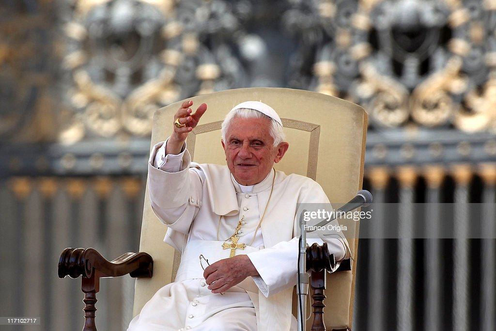 Pope Benedict XVI waves to the faithful gathered in St. Peter's Square, during his weekly audience on June 22, 2011 in Vatican City, Vatican. The Vatican announced yesterday that at the end of the year Pope Benedict XVI will receive a new hybrid Popemobile.