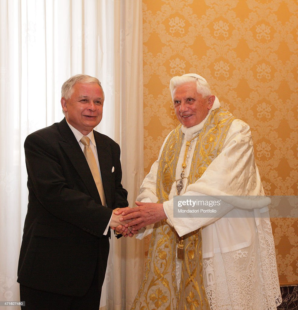 Pope Benedict XVI (Joseph Aloisius Ratzinger) welcoming the President of the Republic of Poland <a gi-track='captionPersonalityLinkClicked' href=/galleries/search?phrase=Lech+Kaczynski&family=editorial&specificpeople=544054 ng-click='$event.stopPropagation()'>Lech Kaczynski</a>. Vatican City. 18th May 2009