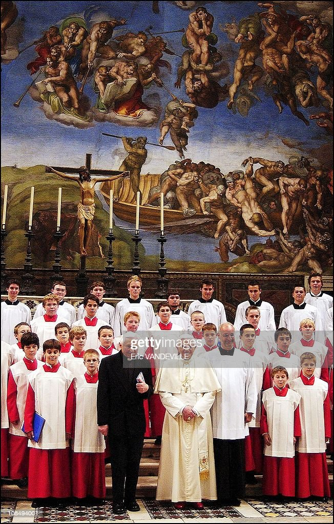 Pope Benedict XVI (centre R) with his brother <a gi-track='captionPersonalityLinkClicked' href=/galleries/search?phrase=Georg+Ratzinger&family=editorial&specificpeople=641406 ng-click='$event.stopPropagation()'>Georg Ratzinger</a> (centre L).A piece by the pope's older <a gi-track='captionPersonalityLinkClicked' href=/galleries/search?phrase=Georg+Ratzinger&family=editorial&specificpeople=641406 ng-click='$event.stopPropagation()'>Georg Ratzinger</a> was performed in the Sistine Chapel. The Regensburger Domspatzen is the choir of the Regensburg Cathedral that Monsignor <a gi-track='captionPersonalityLinkClicked' href=/galleries/search?phrase=Georg+Ratzinger&family=editorial&specificpeople=641406 ng-click='$event.stopPropagation()'>Georg Ratzinger</a> oversaw when he was music director of the cathedral from 1964 until retirement in 1994 in Rome, Italy on October 22nd, 2005.