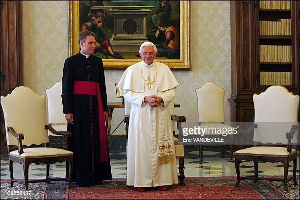 Pope Benedict XVI with his personal secretary Georg Gaenswein in his private library at the Vatican in Rome Italy on November 10th 2005