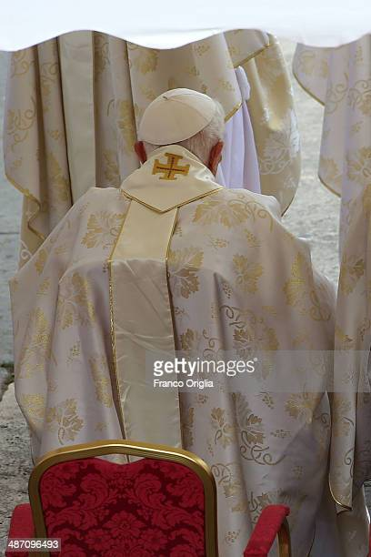 Pope Emeritus Benedict XVI arrives at the Canonization Mass in which John Paul II and John XXIII are to be declared saints on April 27 2014 in...