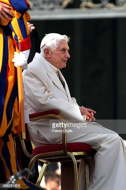 Pope Emeritus Benedict XVI attends a celebration for grandparents and the elderly held by Pope Francis at St Peter's Square on September 28 2014 in...