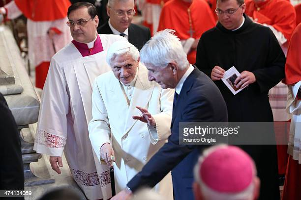 Pope Emeritus Benedict XVI attends the Consistory at St Peter's Basilica on February 22 2014 in Vatican City Vatican 19 new cardinals have been...