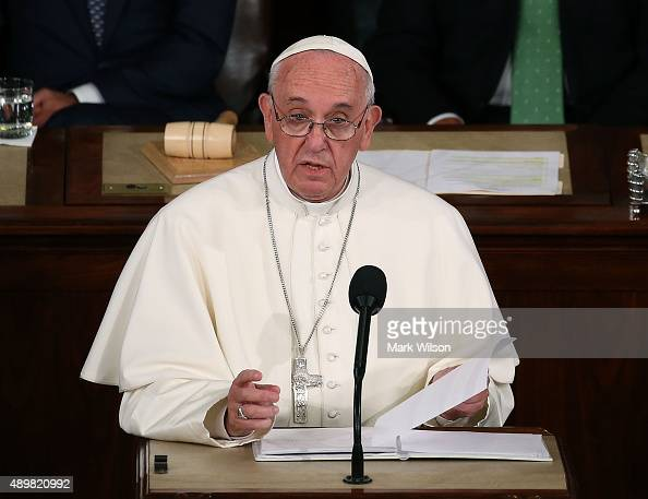 Pope Francis addresses a joint meeting of the US Congress in the House Chamber of the US Capitol on September 24 2015 in Washington DC Pope Francis...