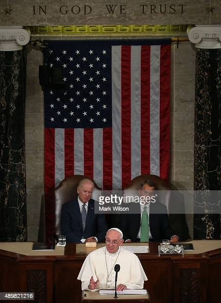 Pope Francis addresses a joint meeting of the US Congress while Vice President Joseph Biden and House Speaker John Boehner listen at the US Capitol...