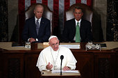 Pope Francis addresses a joint meeting of the US Congress with with Vice President Joe Biden and Speaker of the House John Boehner in the House...