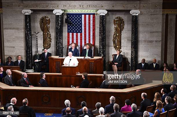 Pope Francis addresses a joint session of Congress on September 24 2014 in Washington DC The Pope is the first leader of the Roman Catholic Church to...