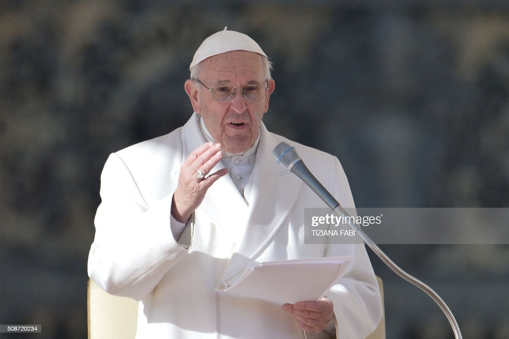 Pope Francis addresses the crowd during an audience to the Padre Pio Prayer Groups, on February 6, 2016 in Vatican. Pio was revered during his lifetime (1887-1968) and his popularity has continued to grow since his death, particularly in Italy, where mini-statues and pictures of the mystical Capuchin friar are ubiquitous. / AFP / TIZIANA FABI