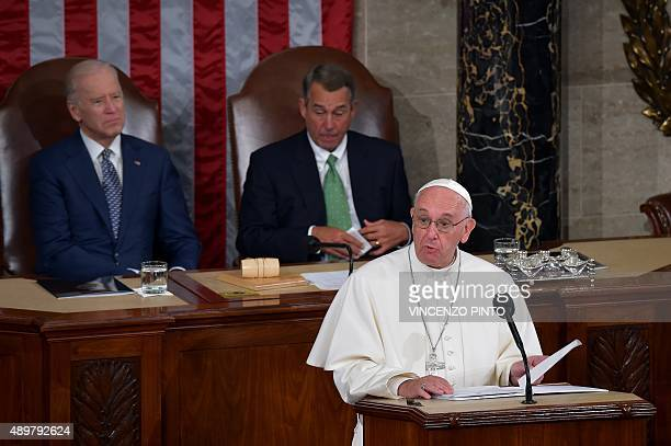 Pope Francis addresses the joint session of Congress on September 24 2014 in Washington DC The Pope is the first leader of the Roman Catholic Church...