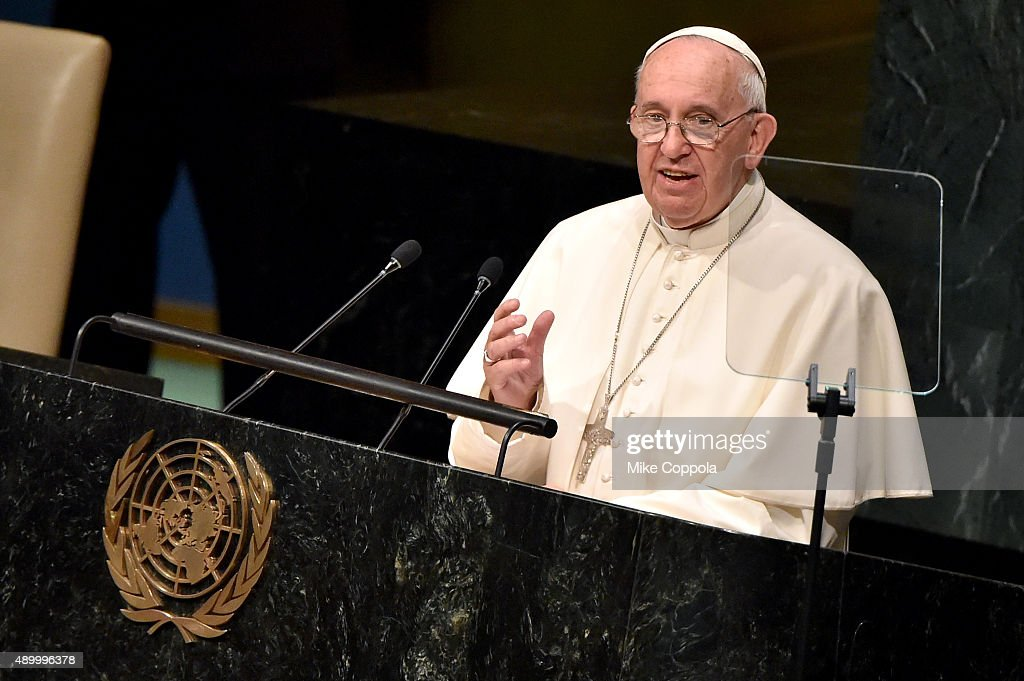 Pope Francis addresses the United Nations General Assembly at the United Nations General Assembly Hall on September 25, 2015 in New York City.