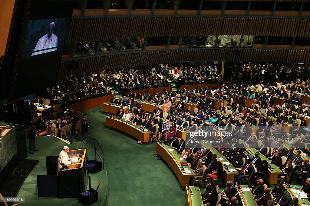 Pope Francis addresses the United Nations General Assembly on September 25, 2015 in New York City.