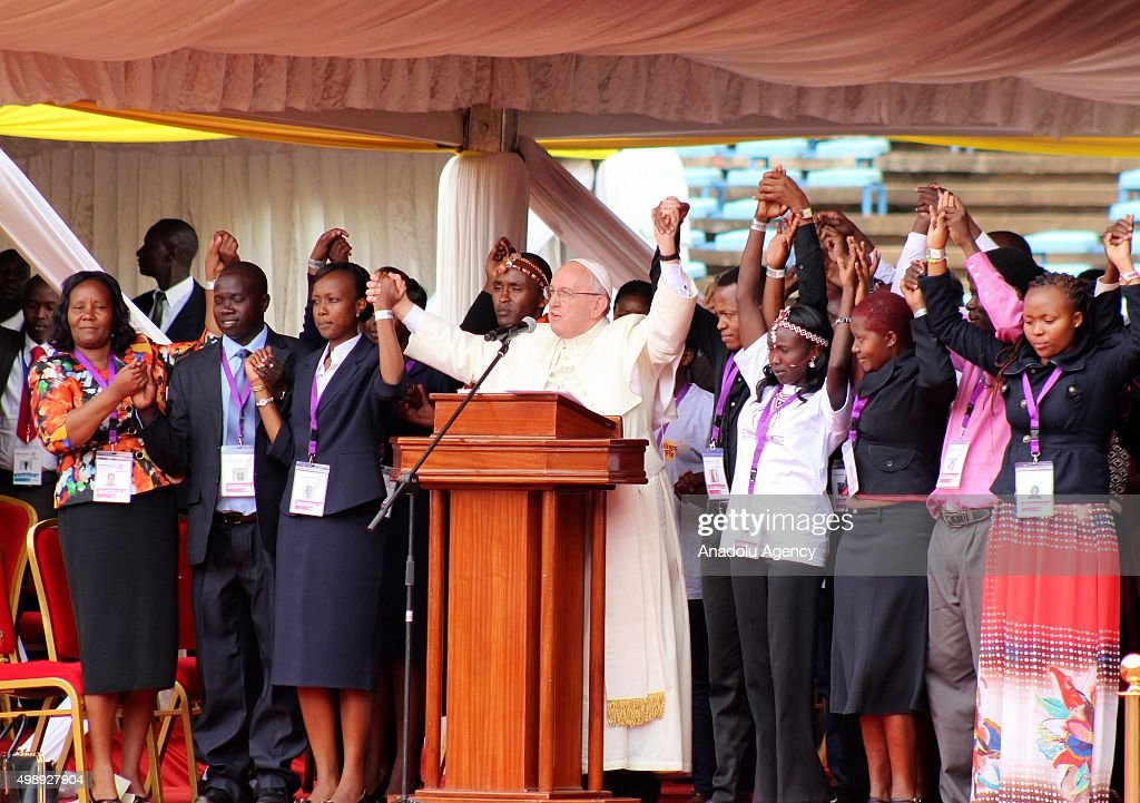 Pope Francis addresses thousands of Kenyans during a meeting at the Kasarani stadium in Nairobi, Kenya on November 27, 2015.