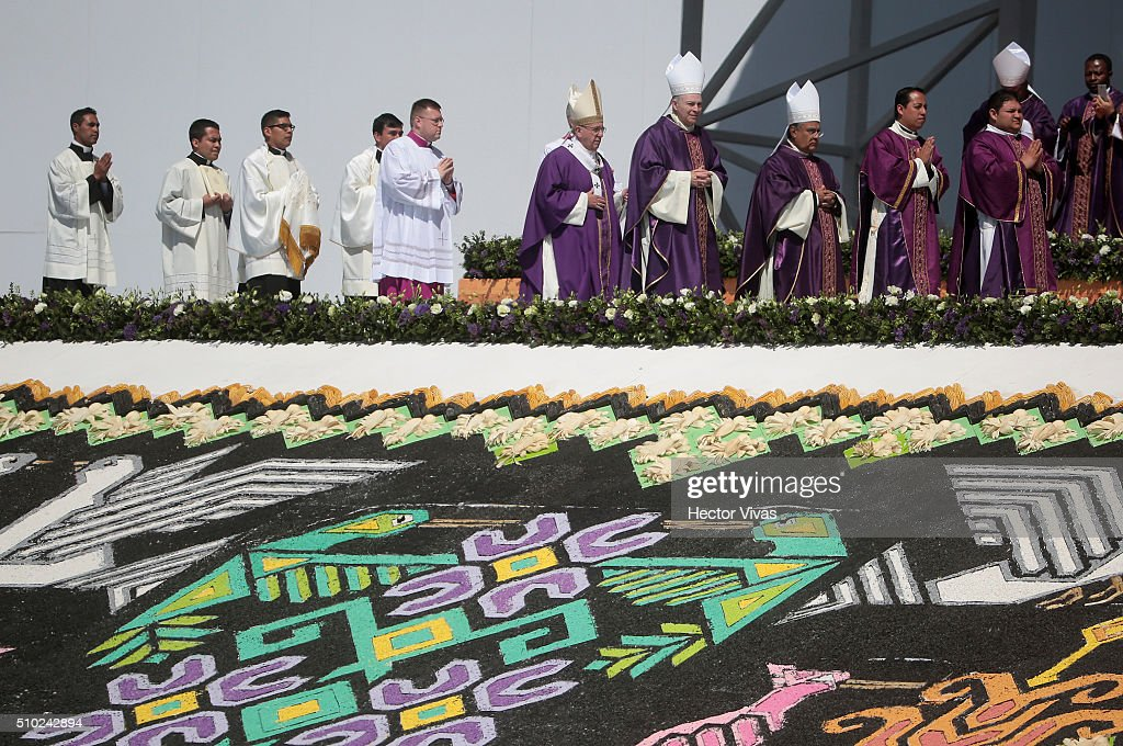 <a gi-track='captionPersonalityLinkClicked' href=/galleries/search?phrase=Pope+Francis&family=editorial&specificpeople=2499404 ng-click='$event.stopPropagation()'>Pope Francis</a> and bishops walk during a mass for the people at Ecatepec on February 14, 2016 in Ecatepec, Mexico. <a gi-track='captionPersonalityLinkClicked' href=/galleries/search?phrase=Pope+Francis&family=editorial&specificpeople=2499404 ng-click='$event.stopPropagation()'>Pope Francis</a> is on a five days visit in Mexico from February 12 to 17 where he is expected to visit five states.