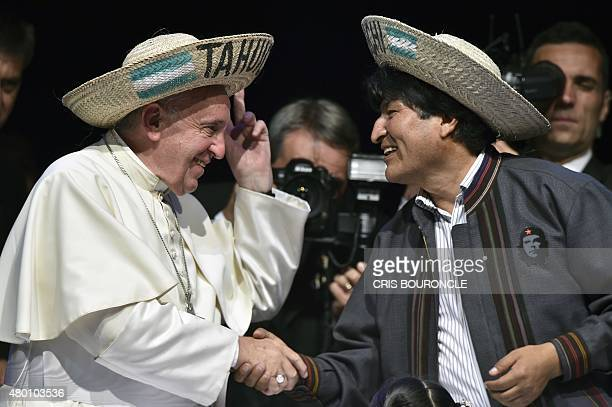 Pope Francis and Bolivian President Evo Morales take part in the Second World Meeting of the Popular Movements at the Expo Feria Exhibition Centre in...