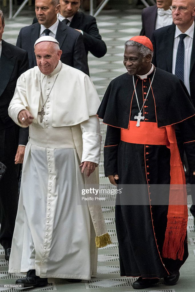 Pope Francis and Cardinal Peter Kodwo Appiah Turkson (R) attend an audience with representatives of Third World Meeting of Popular Movements in Paul VI hall in Vatican City, Vatican. The Meeting brings together organizations of people on the margins of society, including the poor, the unemployed and those who have lost their agricultural land.