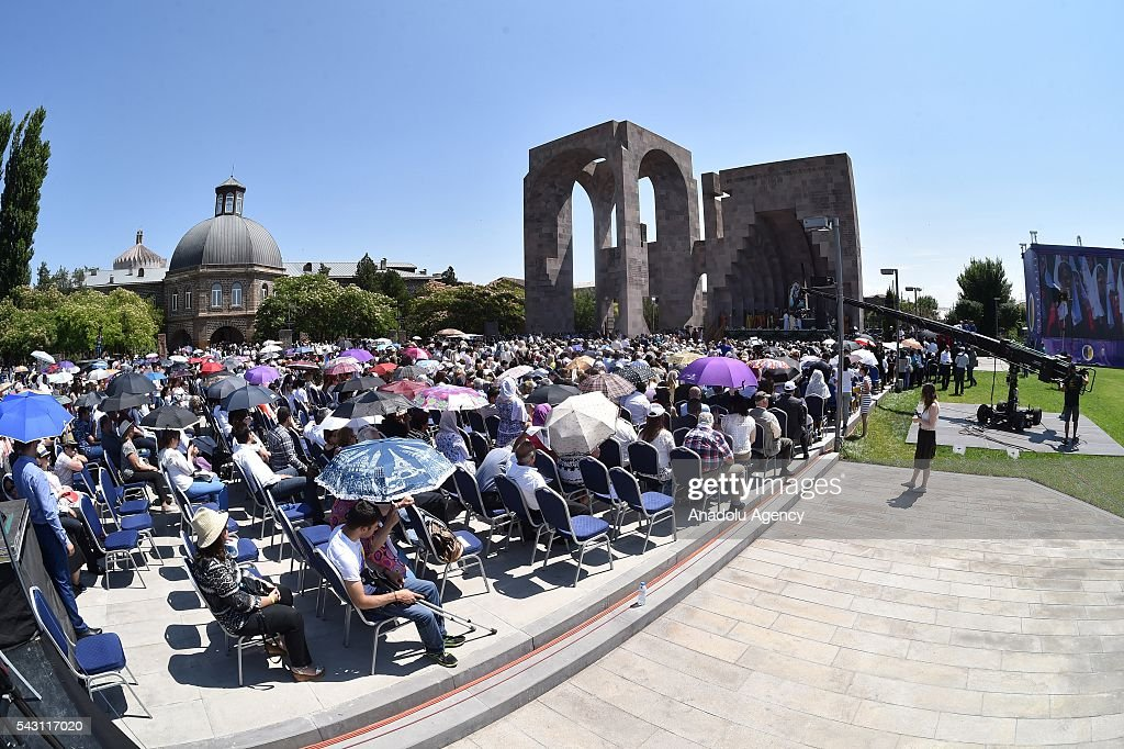 Pope Francis and Catholicos of All Armenians Karekin II attend a Divine Liturgy at the Armenian Apostolic Cathedral in Etchmiadzin, Armenia on 26 June, 2016