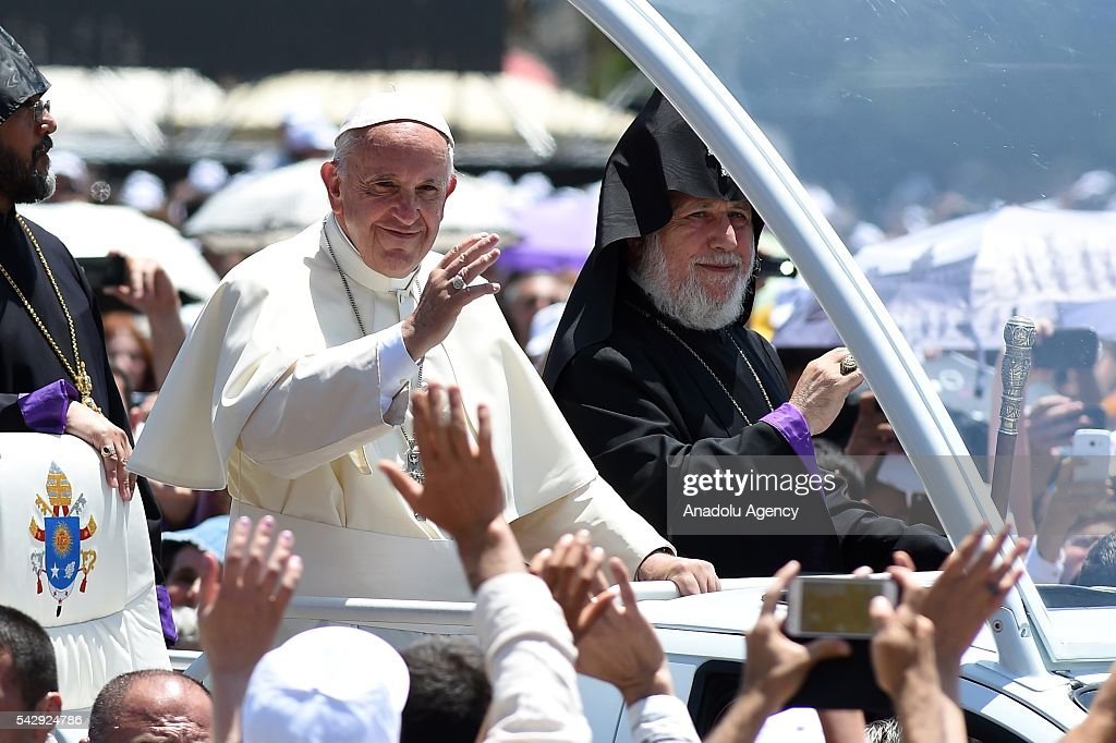 Pope Francis and Catholicos of All Armenians Karekin II greet people from Popemobile at Vardanants Square in Gyumri, Armenia 25 June 2016