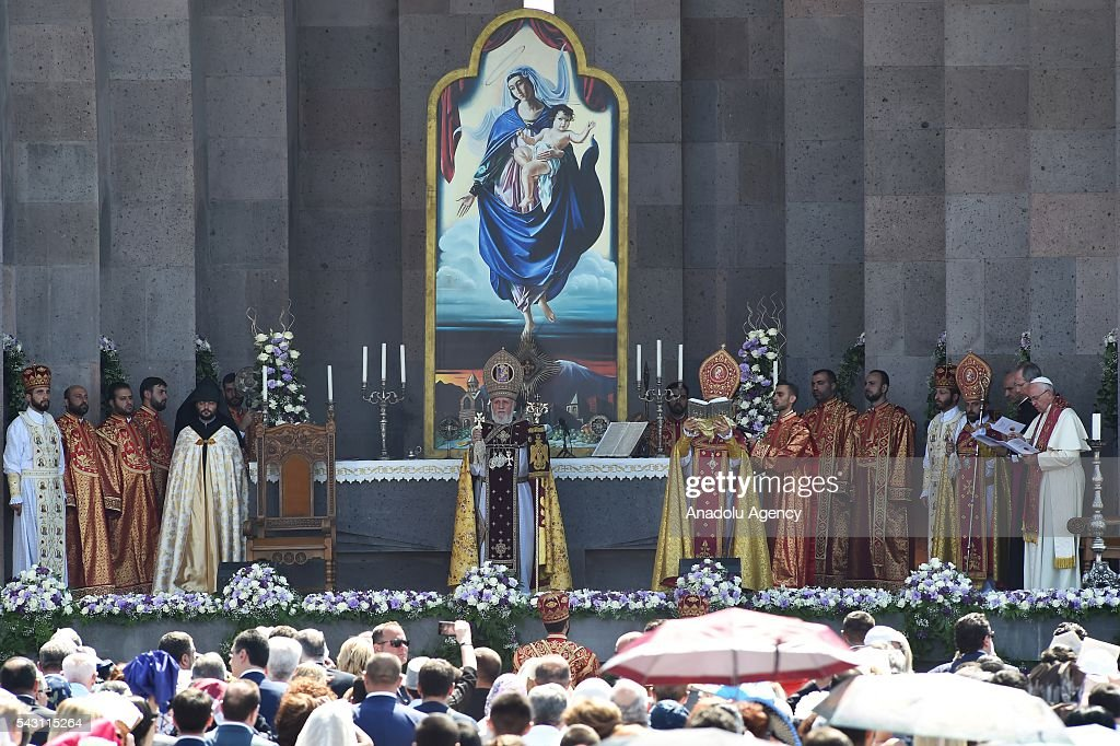 Pope Francis and Catholicos of All Armenians Karekin II lead a Divine Liturgy at the Armenian Apostolic Cathedral in Etchmiadzin, Armenia on 26 June, 2016
