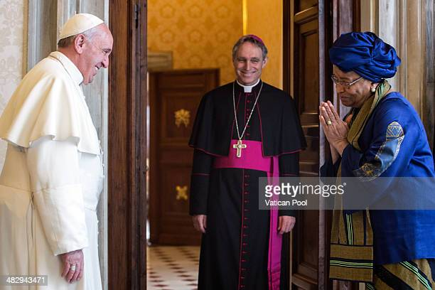 Pope Francis and Prefect of the Pontifical House and former personal secretary of Pope Benedict XVI Georg Ganswein meet President of Liberia Ellen...