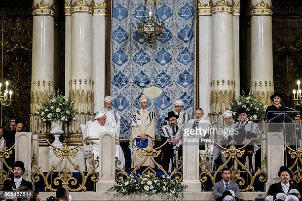 Pope Francis and Rabbi Riccardo Di Segni sit during his visit to the Great Synagogue of Rome Italy