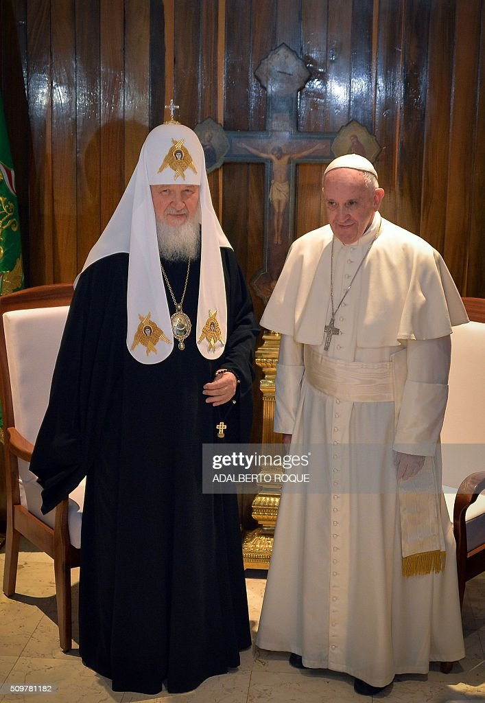 Pope Francis and the head of the Russian Orthodox Church Patriarch Kirill are pictured during a historic meeting in Havana on February 12 2016 Pope...