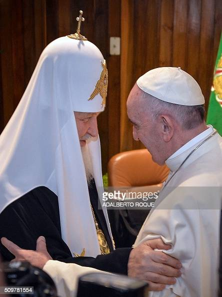 Pope Francis and the head of the Russian Orthodox Church Patriarch Kirill greet each other during a historic meeting in Havana on February 12 2016...