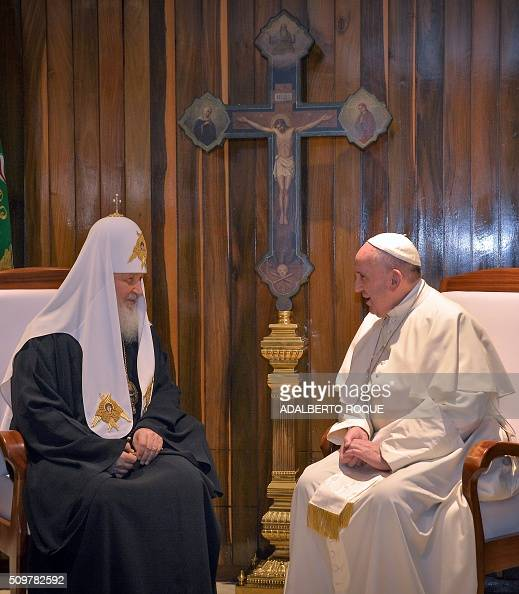 Pope Francis and the head of the Russian Orthodox Church Patriarch Kirill speak during a historic meeting in Havana on February 12 2016 Pope Francis...